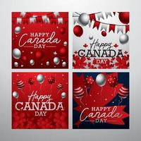 conceito de cartão feliz dia canadense vetor