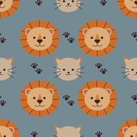padrão sem emenda sobre gato e leão fofos vetor