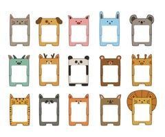 desenho vetorial de notas auto-adesivas de desenhos animados de animais vetor