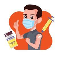 homem usando máscara cirúrgica e mostrando o polegar após a vacinação vetor