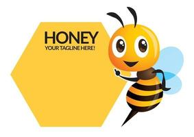 desenho animado bonito abelha apontando para a placa do nome da empresa vetor