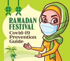 Mulher muçulmana usando máscara facial aconselha o público a seguir as diretrizes da pandemia para se prevenir contra o vírus durante o bazar do ramadã vetor