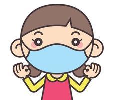 A menina fofa dos desenhos animados usa máscara para se proteger contra vírus e doenças quando volta às aulas vetor