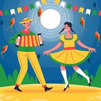 um casal dança e canta na noite de festa junina vetor
