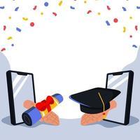 fundo de celebração de formatura online vetor