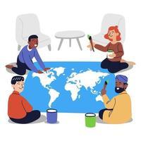 grupo de pessoas de diferentes raças colorindo o mapa do mundo vetor