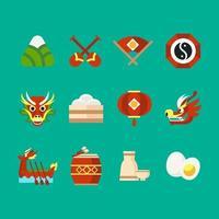 ícones do festival de barco dragão vetor
