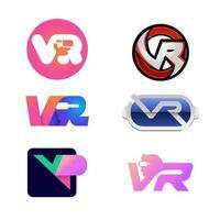 conjunto de logotipo vr tech vetor