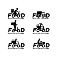 entrega de comida conjunto de logotipo vetor