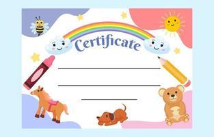 modelo de certificado infantil com personagens fofinhos vetor