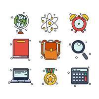 conjunto de ícones de material escolar vetor