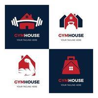 conjunto de logotipos de casas de ginástica simples e modernas vetor