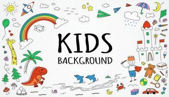 fundo de crianças desenhado à mão vetor