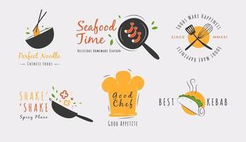 deliciosa coleção de logo de alimentos vetor