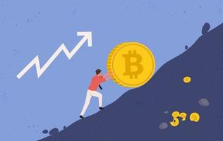 mineiro tentando impedir que uma moeda bitcoin grande caia vetor