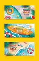 modelos de banner de venda de verão vetor