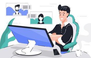reunião online de funcionários em casa durante a pandemia vetor