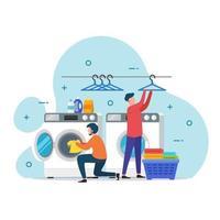 ilustração em vetor conceito de design de serviço de lavanderia