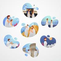 Ilustração em vetor hajj definida para elementos de infográfico de ilustração de peregrinação