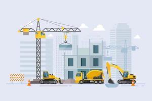em construção processo de trabalho de construção com máquinas de construção vetor