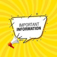 ilustração em vetor bolha de discurso informações importantes