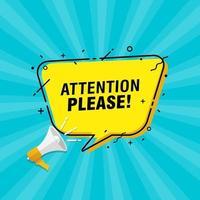 ilustração em vetor de alto-falante com frase de atenção, por favor, no balão de fala