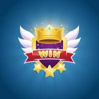 design do emblema do vencedor do jogo com coroa brilhante e prêmio estrela vetor