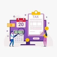 serviço de pagamento de impostos on-line por meio do conceito de design de computadores com ilustração vetorial de pessoas minúsculas vetor