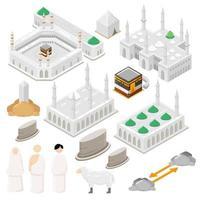 Ilustração em vetor isométrico hajj definida para elementos infográfico de ilustração de peregrinação