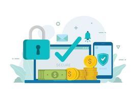 carteira de dinheiro online proteção segura com sistema de bloqueio de segurança vetor