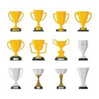 conjunto de ilustração vetorial isolado de troféu prêmio vencedor prêmio campeão copa vetor