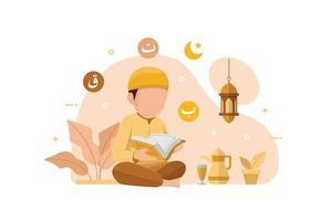 muçulmanos lendo e aprendendo o livro sagrado islâmico do Alcorão vetor
