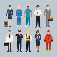 pessoas com ilustração vetorial de personagem de profissão diferente vetor