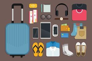 kit de viagem e ferramentas de viagem para uma viagem alegre e feliz vetor
