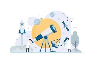 astronomia conceito de design de pesquisa espacial de pessoas pequenas planas vetor