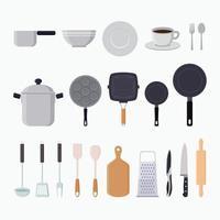 ilustração vetorial plana de elementos gráficos de ferramentas de cozinha vetor