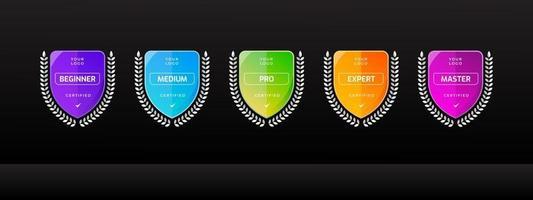 Conjunto de logotipo de crachá certificado com modelo de forma de escudo vetor