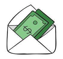 ilustração em vetor desenho animado de dinheiro em dólar no envelope