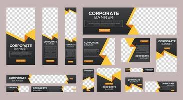 conjunto de modelo de banners web coorporativos de tamanho padrão com conceito preto vetor