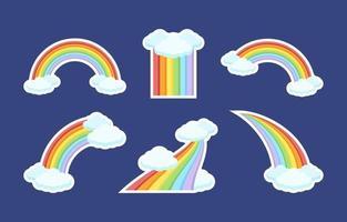 coleção de adesivos coloridos com arco-íris vetor