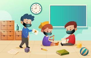 aluno brincando na sala de aula vetor