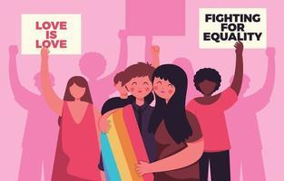 comunidade do orgulho apoiando uns aos outros vetor