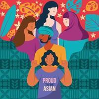 a ancestralidade asiática e da ilha do Pacífico em nossa celebração vetor