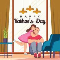 garotinha abraçando seu super pai vetor