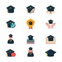 chapéus de formatura em vários ambientes vetor