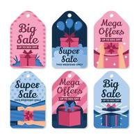 etiqueta de preço especial azul e rosa vetor