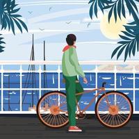 homem com bicicleta vista para o mar no conceito de porto vetor