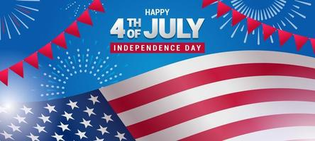 projeto do fundo da bandeira americana do dia da independência de quatro de julho vetor