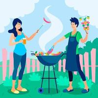 design de ilustração de churrasco para atividades ao ar livre vetor