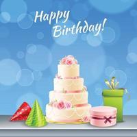ilustração vetorial realista de acessórios de festa de aniversário vetor